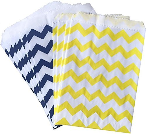 Outside the Box Papers Chevron Treat Sacks 5.5x 7.5 48 Pack Yellow, White, Navy Blue]()