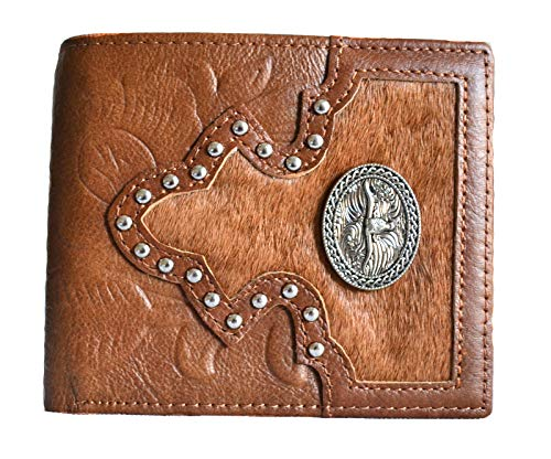 MEN GENUINE LEATHER HAIR TEXAS LONGHORN CONCHO SMALL BIFOLD WALLET (brown)