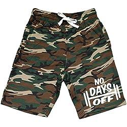 Men's No Days Off Dumbbell Camo Fleece Jogger Sweatpant Gym Shorts Small Black
