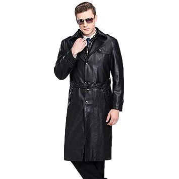 MERRYHE Piel De Oveja Gabardinas para Hombre Slim Fit Chaquetas De Moto Fleece Forrado Cazadora Desmontable Cuello Alto Abrigo,Black-M:170/Bust109cm: ...