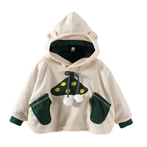 Mud Kingdom Mushroom Baby Cute Fleece Cloak Hoodie Coat 12-24M Beige (Cute Mushroom Costume)