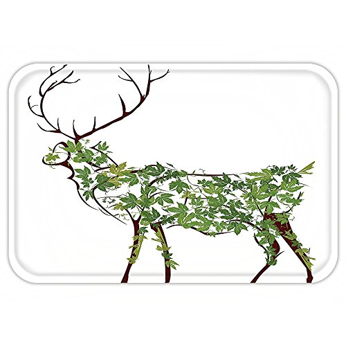Custom Womens Designer Disney Costumes (VROSELV Custom Door MatAntlerDecor Designer Deer Illustration Elk Leave Greenery Garden Traditional Celebration Decor)