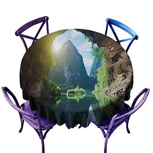 Zodel Round Outdoor Tablecloth,Natural Cave Mountain Sky View from The Grotto Viatnemese Tam COC Park Myst Nature Photo,for Banquet Decoration Dining Table Cover,70 INCH,Multicolor]()