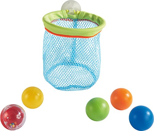 HABA Bathtub Tossing Game - Bath Time Toy with Suction Cup Net & 5 Balls - Shoot, Scoop and Store!