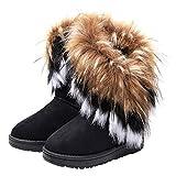 Vfdb Women Mid Calf Boot Suede Faux Fur Tassel Outdoor Winter Snow Suede Flat Shoes Us 7 | amazon.com