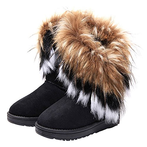 VFDB Women Mid Calf Boot Suede Faux Fur Tassel Outdoor Winter Snow Suede Flat Shoes US 5.5 - Suede & Faux Fur Boot