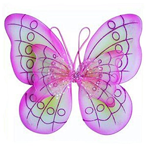 2 X Pink Butterfly Costume Dress-up - Jeweled Fairy Princess Wings
