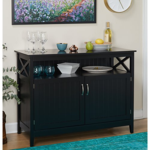 - ModHaus Living Modern Dining Buffet with 2 Door Storage Cabinet and Adjustable Shelf - Includes Pen (Black)