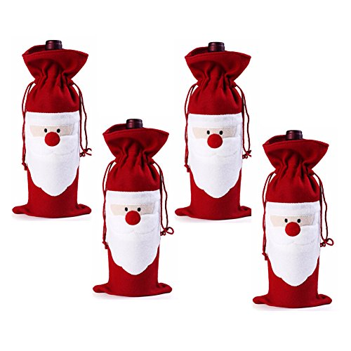 Gabkey Pack of 4 Christmas Wine Gift Bags - Drawstring Christmas Red Wine Bottle Cover Bags (Wine Bag Spigot compare prices)