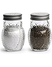 Circleware Elegant Owl Shaped Glass Mason Salt and Pepper Shakers with Metal Lids, Perfect for Himalayan Seasoning Herbs Spices, 2-Piece Set
