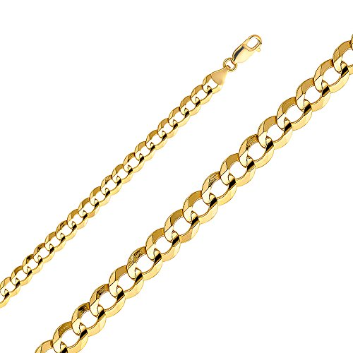 14k Yellow Gold 7mm Cuban Concave Chain - (26 Inches) by Top Gold & Diamond Jewelry