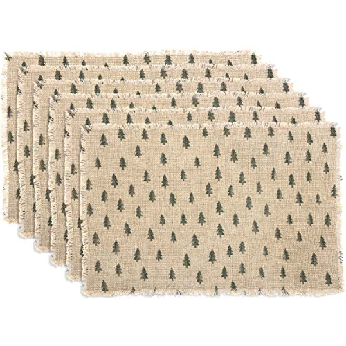 VHC Brands Farmhouse Holiday Tabletop & Kitchen - Vintage Burlap Tree White Placemat Set of 6, 12 x 18 Oval,]()