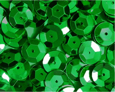 5mm CUP SEQUINS Green Loose sequins for embroidery, applique, arts, crafts, and embellishment.
