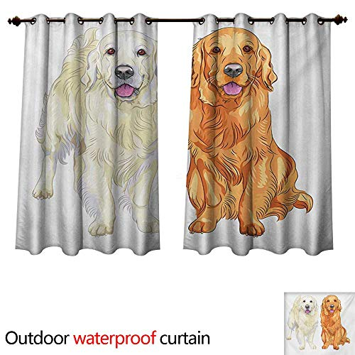 - WilliamsDecor Golden Retriever Outdoor Ultraviolet Protective Curtains Smiling Pale and Red Gun Dog Breed Sitting and Staying Thoroughbred W120 x L72(305cm x 183cm)