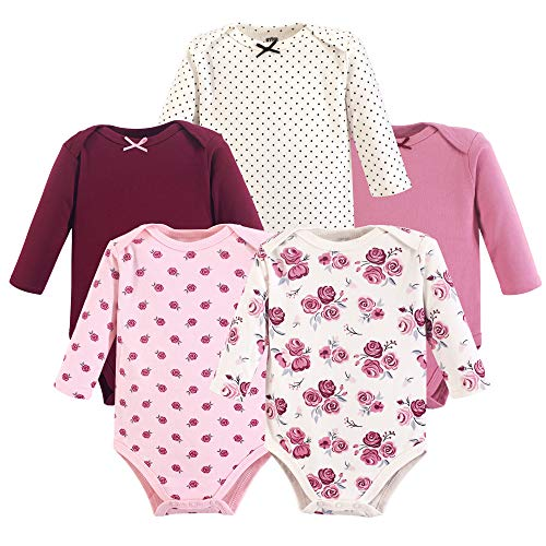 Hudson Baby Unisex Baby Long Sleeve Cotton Bodysuits, Rose Long Sleeve 5 Pack, 6-9 Months -
