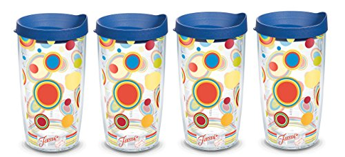 Dots Tumbler (Tervis Fiesta Poppy Dots Tumbler, 16-Ounce, 4-Pack, with Blue Travel Lids)