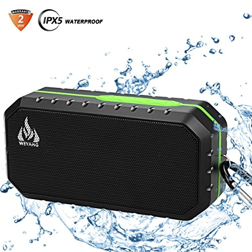 Bluetooth Wireless Speakers Waterproof IPX5 HD Enhanced Bass Outdoor Wireless Portable Phone Speakers Built-in Mic Support FM AUX TF Card USB iPhone iPad Android Phones Computer Etc. (Green)