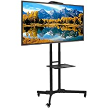ABCCANOPY Black TV Cart Rolling Trolley Mount TV Stands w/ Wheels and Adjustable Shelf for 32-65 Inch LED LCD OLED Flat Screen, Plasma TVs TV & Monitors