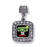 Inspired Silver - Silver Square Charm for Bracelet with Cubic Zirconia Jewelry