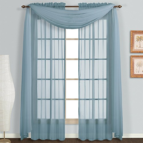 Treatments Window Swags (Avanti Home Elegance Solid Many Colors Window Scarf Valance Soft Sheer Voile Topper Swag Panel Curtain 37