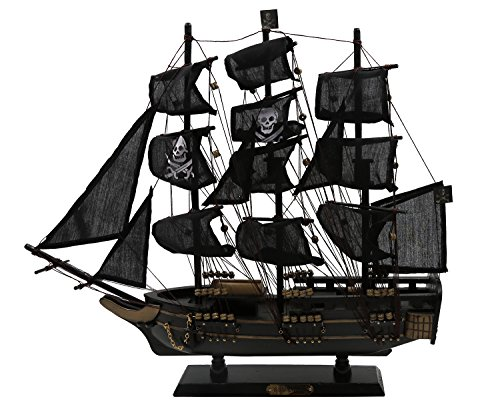 Rental Orlando Costumes (Handcrafted Home Decorative Nautical Wooden Pirate Ship Sailboat Boat Model Decor - Black, as)