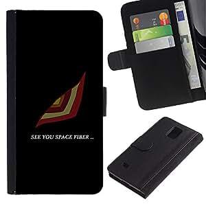 YiPhone /// Tirón de la caja Cartera de cuero con ranuras para tarjetas - See You Espacio - Samsung Galaxy Note 4 IV