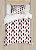 Casino Twin Size Duvet Cover Set by Lunarable, Casino Poker Theme Pattern with Card Suits and Chips Fortune Wealth Luck Win, Decorative 2 Piece Bedding Set with 1 Pillow Sham, Red Black White