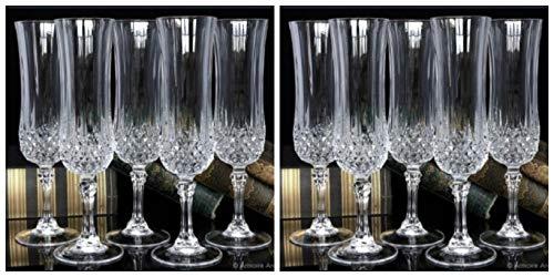 Lot of 10 Cris D'Arques/Durand Crystal LONGCHAMP Champagne Flutes EXCELLENT