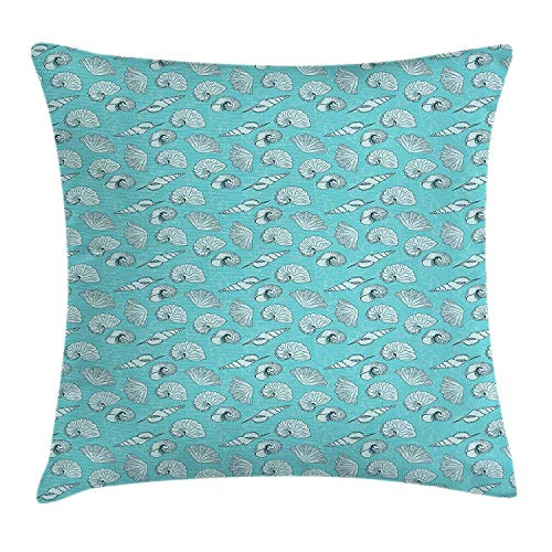 WCMBY Seashells Throw Pillow Cushion Cover, Ladder Horn Button and Scallop Sketches on Pale Toned Background, Decorative Square Accent Pillow Case, 18 X 18 inches, Pale Blue and Baby Blue