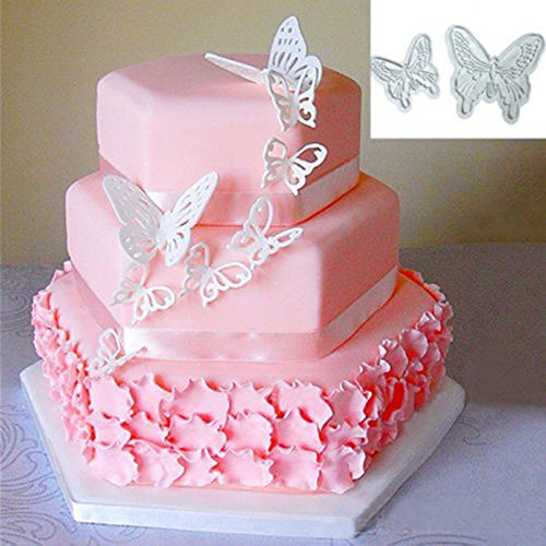 2pcs/Set Butterfly Cake Fondant Sugarcraft Cookie Decorating Cutters Mold Tool (Abc Halloween Asl)