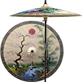 Cheap 7 Foot Tall Handpainted Patio Umbrella – Asian Spring in Sand Color