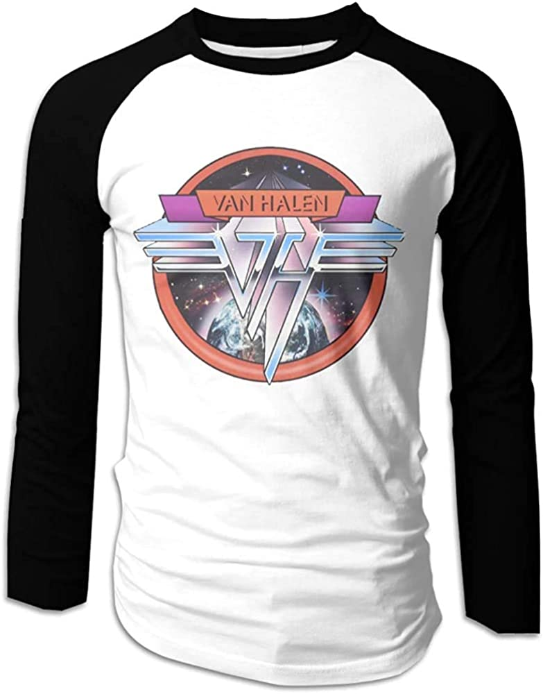 Maglietta a Maniche Lunghe Raglan da Baseball da Uomo Casual Van Halen P T-Shirt Girocollo in Cotone Nero