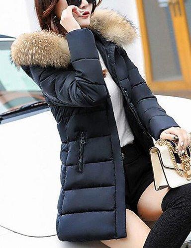 ciudad Manga Abrigo USCIRE otro acolchado para TT polipropileno sin Casual Simple mujer amp; ShangYi largo Gris moda de romántico liso Yqxx7UvZ