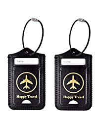 Mosiso Luggage Tag, Premium PU Leather Anti-Lost Travel Suitcase Label Card Cover Private Name Identifier Holder with Stainless Steel Cable Loop for School Bags/Gym Bags, 2 Pack, Black