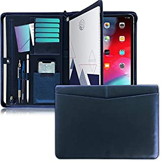 UNIMIRA Zippered Leather Portfolio Padfolio, Navy Blue, Business Case Organizer for Ipad 12.9 2015-2020, Letter Notepad Binder, Men and Women, Professional Gift Binder, iPad Sleeve for Travelling