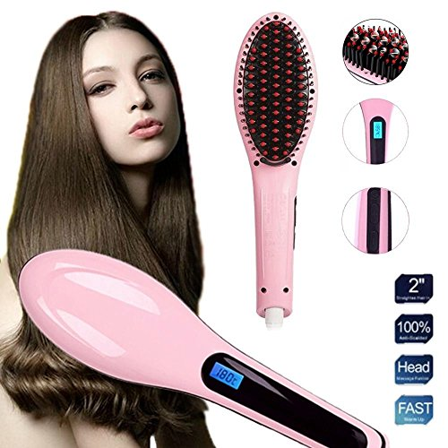 2-in-1 Pink Electric Hair Straightener Comb LCD Ion Brush Auto Massager, or normal textured hair,select moderate - Monroe Outlets
