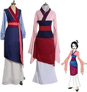 Mulan Cosplay Disfraces Rojo Azul Drama Vestidos de princesa Mushu ...