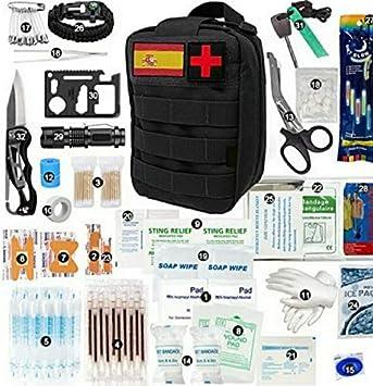 emak Kit España de Supervivencia de Emergencia, Equipo de Supervivencia Profesional, Kit de Primeros Auxilios, Bolsa tactica