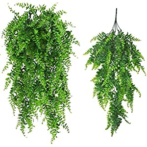 Xelparuc Artificial Plants Greenery Boston Fern Persian Rattan Fake Hanging Plant Ivy Vine Outdoor UV Resistant Plastic Plants Vines Safari Jungle Party Decorations Supplies 2 Pcs 114