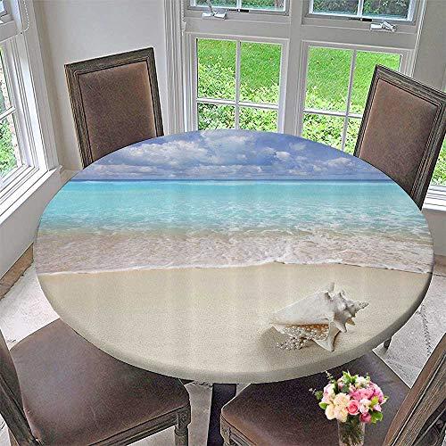 Mikihome Circular Table Cover Each Sand Pearl Necklace Shell Summer Holi Horiz Cariban Tropical Coast 43.5