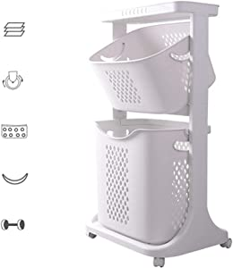 Laundry Basket Cart, Multifunction Hollow-Carved Dirty Clothes Basket with Removable Basket and Scroll Wheel for Bathroom Kitchen Living Room,2 Layers