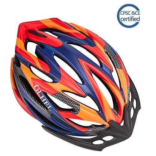 GLHEL Bike Helmets for Child Men & Women CPSC Certified Safety Adjustable Road Cycling Helmet S/M/L (Red&Orange, Large (58-61cm)) (61cm Road Bike)