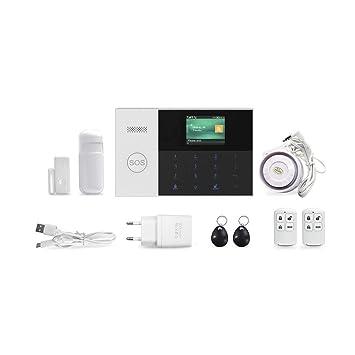Biback Kit de Sistema de Alarma para el hogar Control Remoto Pantalla LED Inteligente Indicador de Voz Casa Oficina Negocio Alarma contra robos ...