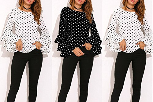 et Sleeve Automne Casual Haut Blanc Col Blouses New Printemps Pois Tee Femmes Chemises Rond Flare Shirt T Mode Tops Apq5W8w