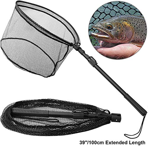 "PLUSINNO Fishing Net Fish Landing Net, Foldable Collapsible Telescopic Pole Handle, Durable Nylon Material Mesh, Safe Fish Catching or Releasing(39"")"