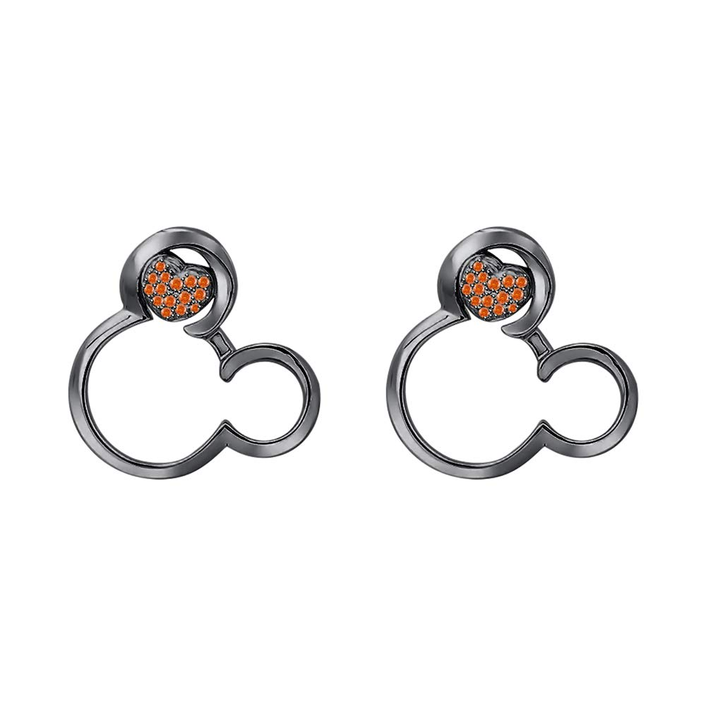 Sparkling Round Gemstones Mickey Mouse 14k Black Gold Over .925 Sterling Silver Earrings For Womens Tiny Girls