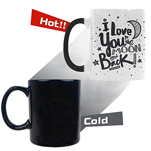 InterestPrint Kitchen & Dining I Love You to the Moon and Back Morphing Mug Heat Sensitive Color Changing Mug Ceramic Coffee Mug Cup-White-11 oz-Stars Black Color - Moon White Cup