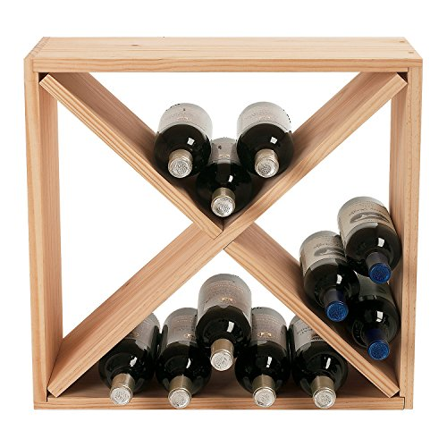 Wine Enthusiast 24 Bottle Compact Cellar Cube Wine Rack, Natural by Wine Enthusiast