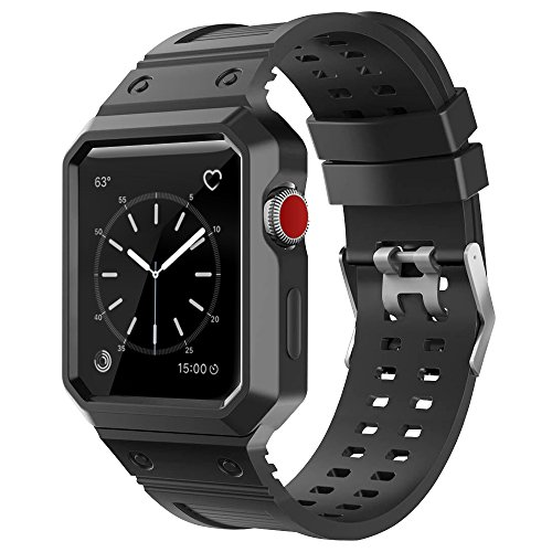CTYBB Apple Watch Band 38mm with Case, iWatch Bands with Shock-proof Protective Case for Apple Watch Series 3, Series 2, Series 1, Nike+,, Sport, Edition - Black