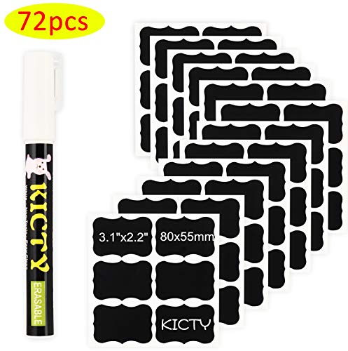 Kicty Unique Chalkboard Labels with Liquid Chalk Marker - Premium Stickers for Jars (72 Pcs) -